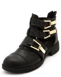 Charlotte Russe Cutout Triple Buckle Ankle Bootie