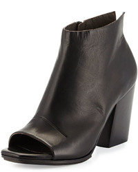 Coclico Den Open Toe Leather Bootie Black