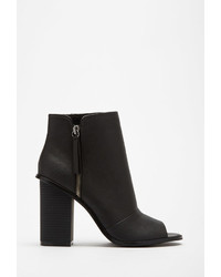 Forever 21 Faux Leather Peep Toe Booties