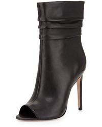 Halston Heritage Sandra Peep Toe Slouchy Leather Boot Black