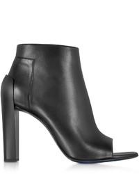 Jil Sander Black Leather Peep Toe Ankle Bootie