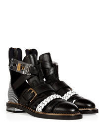 Vionnet Leather Cutout Ankle Boots