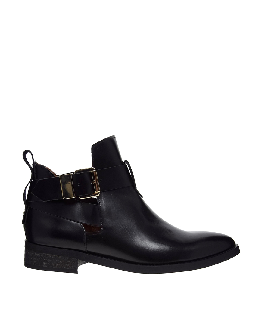 miista ona black leather cut out ankle boots where to