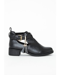 Missguided Holly Cut Out Tassel Ankle Boots Black
