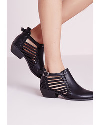 Missguided Strappy Cut Out Ankle Boot Black
