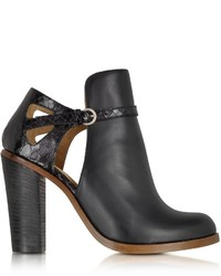 Maison Martin Margiela Mm6 Black Cut Out Leather Ankle Boot