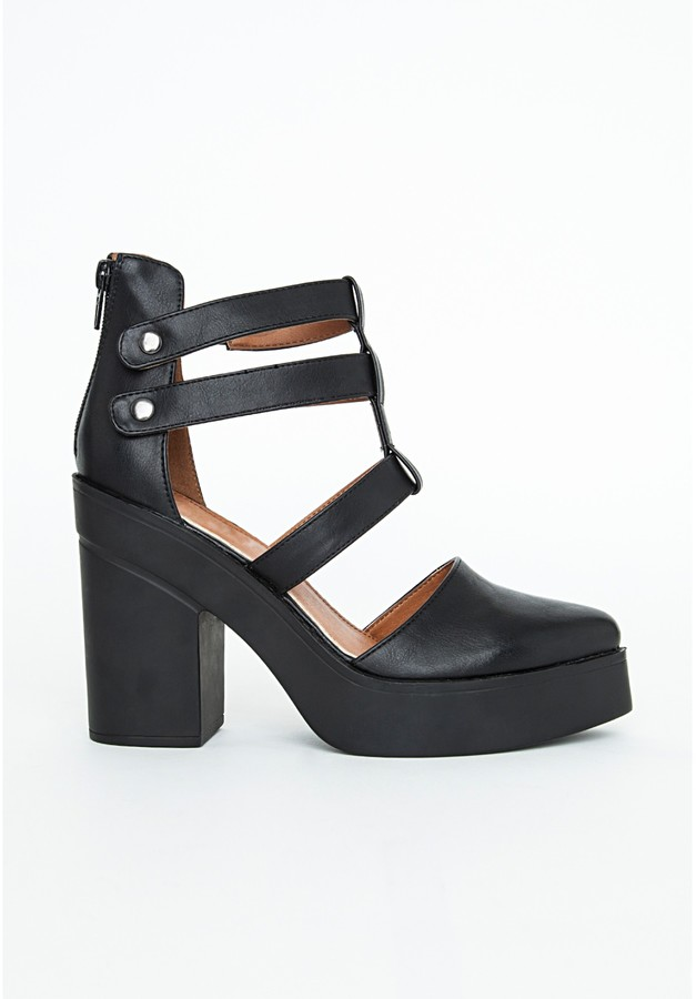 a16855c814ce ... Missguided Nin Black Chunky Cut Out Ankle Boots ...