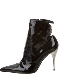 Versace Patent Leather Cutout Ankle Boots