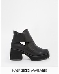 Shellys London Mieri Black Leather Cut Out Ankle Boots Black Leather