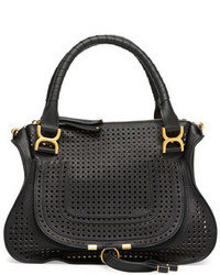 Chloe marcie perforated medium shoulder bag black medium 41364
