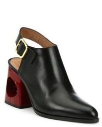 Marni Cutout Heel Leather Slingbacks