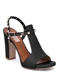 Valentino Garavani Valentino Rockstud Cutout Leather Block Heel Slingbacks