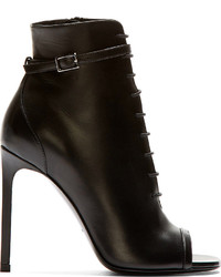 Saint Laurent Black Leather Open Toe Jane Boots
