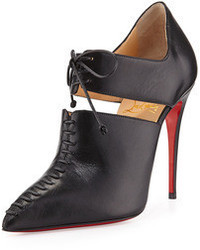 Christian Louboutin Corsita Cutout Leather Red Sole Ankle Boot Black