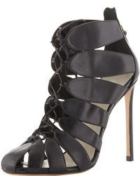 Francesco Russo Lace Up Cutout Ankle Boot