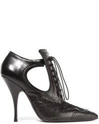 Givenchy Cutout Ankle Boots In Black Leather And Lace It36