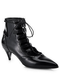 Saint Laurent Lace Up Patent Leather Ankle Boots