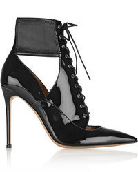 Lace up patent leather ankle boots medium 63489
