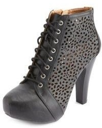 Charlotte Russe Laser Cut Out Lace Up Platform Booties