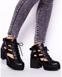 Shellys London Milligan Black Cut Out Lace Up Boots