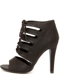 My Delicious Scanda Black Lace Up High Heel Booties