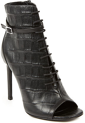 Saint Laurent Open Toe Lace Up Croc Embossed Leather Booties