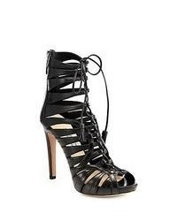 Prada Strappy Leather Lace Up Ankle Boots