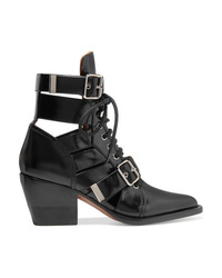 Chloé Rylee Cutout Glossed Leather Ankle Boots
