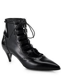 Saint Laurent Lace Up Patent Leather Ankle Boots