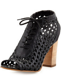 Steve Madden Steven By Monah Lace Up Leather Wicker Pump Black