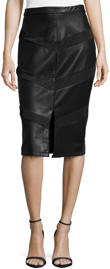 5twelve Paneled Faux Leather Midi Pencil Skirt Black | Where to ...