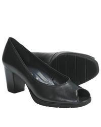 ara Steffi Peep Toe Pumps Black Leather