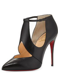 Christian Louboutin Dictata Cutout Leather Red Sole Pump Black