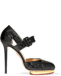 Charlotte Olympia Divia Cutout Croc Effect Leather Platform Pumps Black