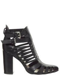 Faith Chesterton Black Multi Strap Block Heel Shoes Black