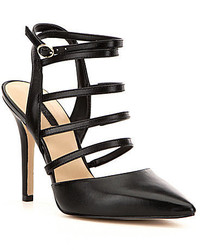 GUESS Bellona Leather Pointed Toe Banded Ankle Strap Caged Pumps