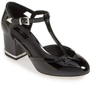 Black Cutout Leather Pumps Top Joyful T Bar Mid Heel Pump