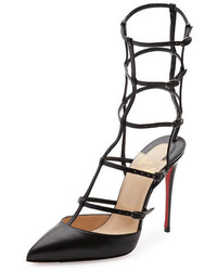 Christian Louboutin Kadreyana Caged 100mm Red Sole Pump Black