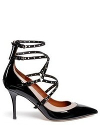 Valentino Love Latch Caged Patent Leather Pumps