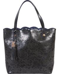 Buco Handbags Large Leather Lace Tote Fl 19122 Black Casual Handbags