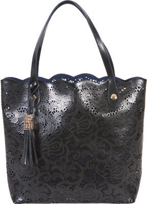 Buco Handbags Large Leather Lace Tote Fl 19122 Black Casual