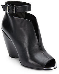 Kenneth Cole Broome Leather Peep Toe Ankle Boots