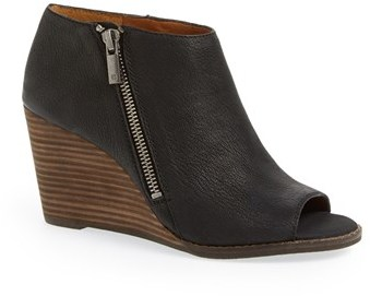 ddcd9ab22df4 ... Black Cutout Leather Wedge Ankle Boots Lucky Brand Jaspah Peep Toe  Wedge Bootie ...