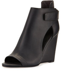 Katia leather wedge bootie black medium 96863