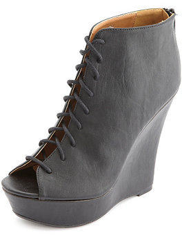 3f3c926094dd ... Black Cutout Leather Wedge Ankle Boots Charlotte Russe Lace Up Peep Toe  Wedge Booties ...