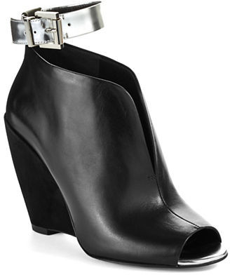 5ca4f8d7dfc3 ... Black Cutout Leather Wedge Ankle Boots Kenneth Cole New York Broome Peep  Toe Wedge Booties ...