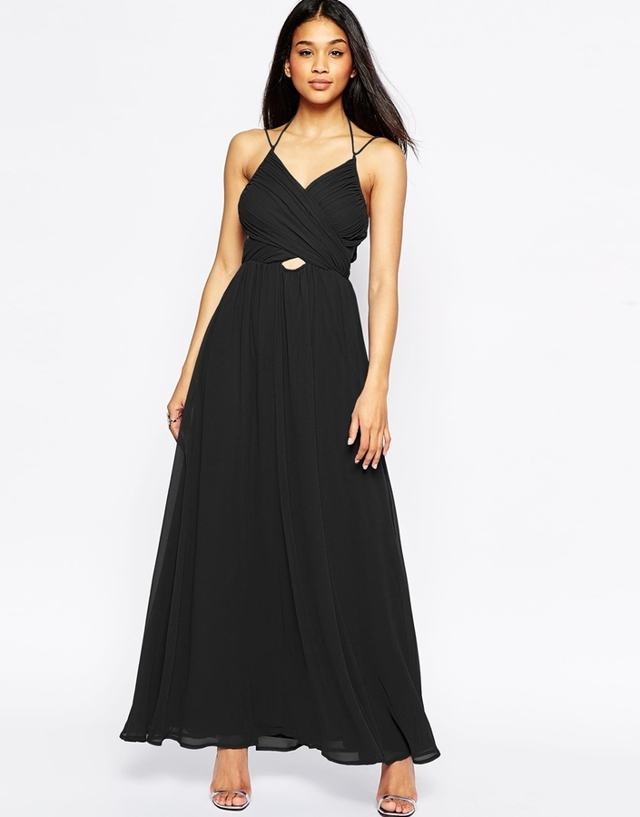 9518abc7a7eb47 Asos Collection Halter Neck Maxi Dress With Cut Out Side, $86 | Asos ...