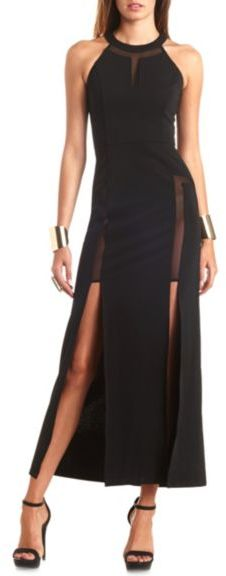 Charlotte Russe Racer Front Mesh Cut Out Maxi Dress Where To Buy
