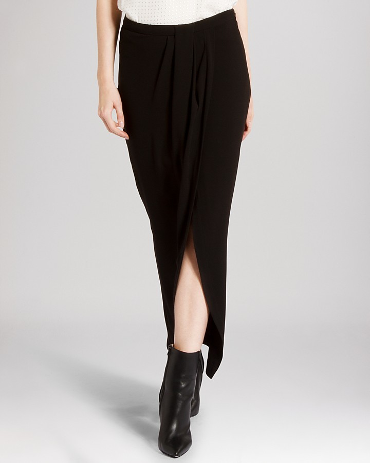 Halston Heritage Skirt Faux Wrap Maxi Front Slit | Where to buy ...