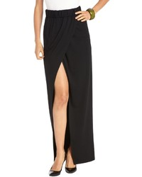Rachel Zoe Black Strech Jersey Knit Long Wrap Skirt